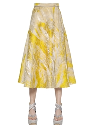 Salvatore Ferragamo Lurex And Silk Jacquard Midi Skirt Yellow