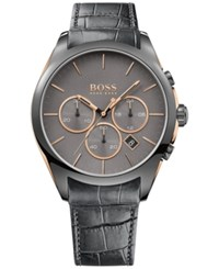Hugo Boss Men's Chronograph Onyx Gray Leather Strap Watch 44Mm 1513366 Grey
