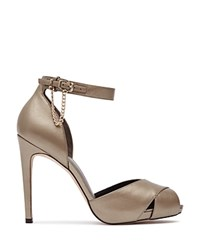 Reiss Polden Chain Detail Ankle Strap High Heel Sandals Pewter