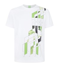 Hugo Boss Green Tee 5 Abstract Print T Shirt Male White