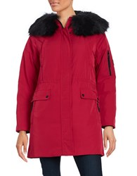 Calvin Klein Long Sleeve Faux Fur Trim Hooded Parka Jacket Red