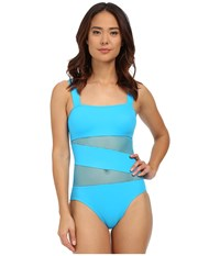 Dkny Mesh Effect Mesh Splice Maillot W Removable Soft Cups Azurite Women's Swimsuits One Piece Gold