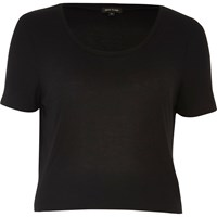 River Island Womens Black Relaxed Scoop Neck T Shirt