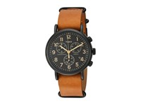Timex Weekender Chrono Oversize Leather Slip Thru Strap Tan Black Watches Multi