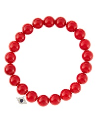 Sydney Evan 8Mm Red Coral Beaded Bracelet With 14K White Gold Diamond Small Evil Eye Charm Made To Order