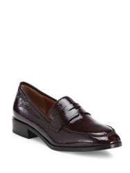 Aquatalia By Marvin K Sharon Patent Leather Loafers Wine Black