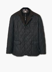 Mango Lapel Quilted Jacket Grey