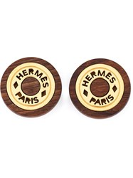 Hermes Vintage Wood Logo Earrings Brown