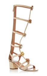 Laurence Dacade Lally Tall Gladiator Sandals With Embellished Florals Ivory