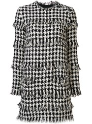 Msgm Frayed Houndstooth Dress White