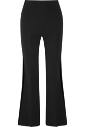 Roland Mouret Cropped Velvet Trimmed Stretch Ponte Flared Pants Black