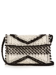 Antonello Tedde Suni Woven Cotton Cross Body Bag Black Cream