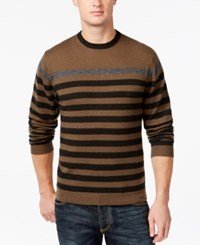 Weatherproof Striped Crew Neck Sweater Loden