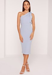 Missguided One Shoulder Bodycon Midi Dress Powder Blue Blue