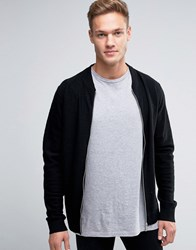 Jack And Jones Premium Slim Zip Knit Bomber Black