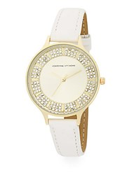 Adrienne Vittadini Av Embellished Analog Watch Gold White