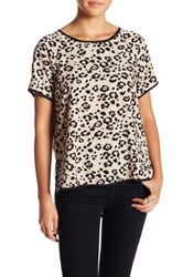 Harlowe And Graham Short Sleeve Scoop Neck Cheetah Blouse Multi