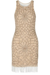 Badgley Mischka Embellished Tulle Mini Dress