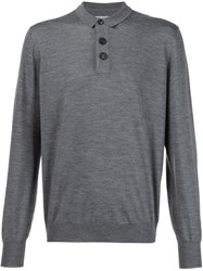 Brunello Cucinelli Fine Knit Polo Shirt Grey
