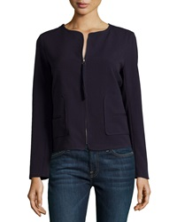 Max Studio Pleated Double Cloth Jacket Navy