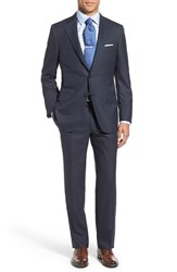 Hickey Freeman Men's 'Beacon' Classic Fit Windowpane Wool Suit Navy