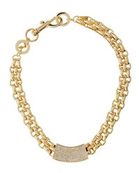 Rebecca Minkoff Chunky Crystal Id Collar Necklace Gold