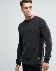 Threadbare Crew Neck Cable Knit Jumper Grey