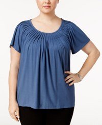 Styleandco. Style Co. Plus Size Short Sleeve Pleated Top New Uniform Blue