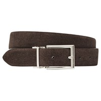 Reiss Mitchell Reversible Suede Leather Belt Brown