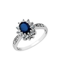 Lord And Taylor Sapphire Ring In 14 Kt. White Gold