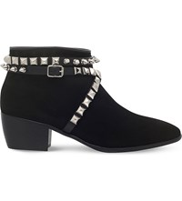 Giuseppe Zanotti Gordon Studded Suede Ankle Boots Black Comb