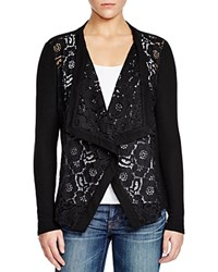 Red Haute Lace Front Cardigan Black