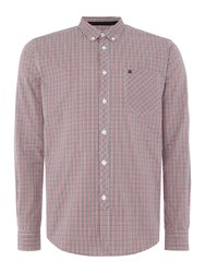 Merc Long Sleeve Small Checked Shirt Red