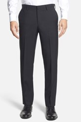 Calibrate Wool And Mohair Flat Front Trousers Black