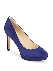 Ivanka Trump Kimoa Suede Platform Pumps Dark Blue
