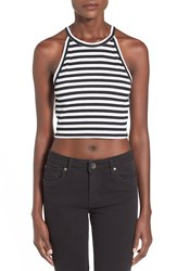 Bp Stripe High Neck Crop Tank Black Prep Stripe