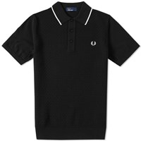 Fred Perry Checkerboard Knit Polo Black