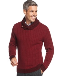 Tasso Elba Big And Tall Chunky Shawl Sweater Only At Macy's Holiday Red