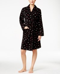 Charter Club Printed Short Robe Only At Macy's Polka Dot Black
