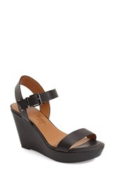 Women's Arturo Chiang 'Paulline' Wedge Sandal Black Leather