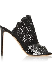 Nicholas Kirkwood Laser Cut Suede And Patent Leather Mules Black