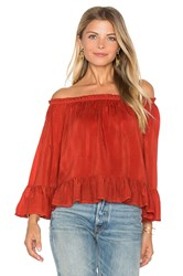 Maven West Off Shoulder Ruffle Top Rust