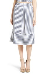 Women's J.O.A. Cotton Poplin Stripe Midi Skirt