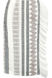 Tory Burch Plisse Paneled Embroidered Chiffon Skirt White