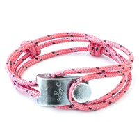 Anchor And Crew Falmouth Rope And Silver Bracelet Solid Pink