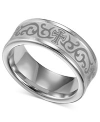 Macy's Triton Men's White Tungsten Ring Laser Detailed Scroll And Cross Wedding Band