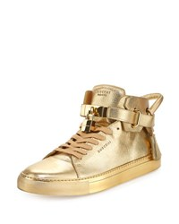 Buscemi 100Mm Metallic High Top Sneaker Gold
