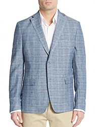 Calvin Klein Regular Fit Plaid Wool Blazer Light Blue