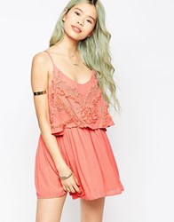 Hazel Embroidered Overlay Cami Dress Pink