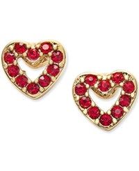 Kate Spade New York Gold Tone Red Crystal Open Heart Stud Earrings